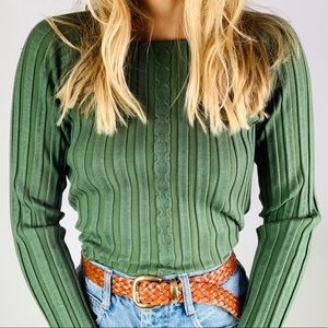 Vintage Green Ribbed Boatneck Knit Sweater Top